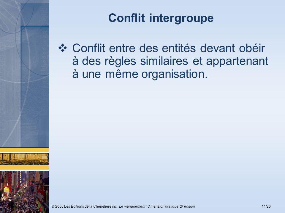 © 2006 Les Éditions de la Chenelière inc., Le management : dimension pratique, 2 e édition11/20 Conflit intergroupe Conflit entre des entités devant o