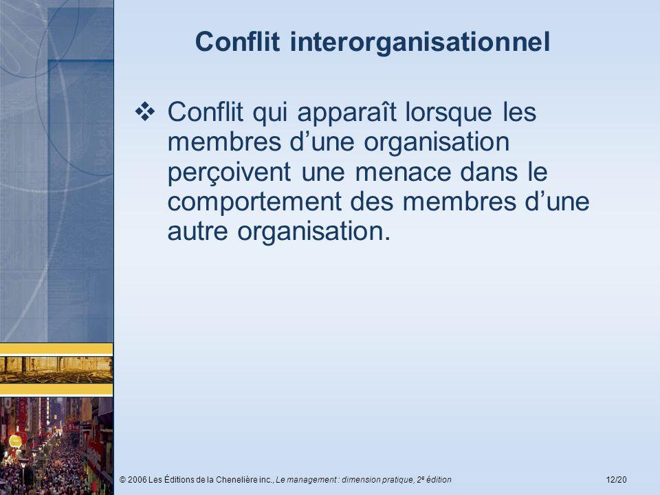 © 2006 Les Éditions de la Chenelière inc., Le management : dimension pratique, 2 e édition12/20 Conflit interorganisationnel Conflit qui apparaît lors