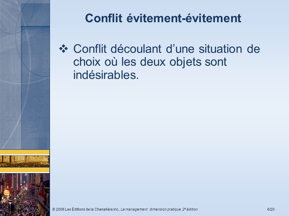 © 2006 Les Éditions de la Chenelière inc., Le management : dimension pratique, 2 e édition17/20 Les conditions favorisant la résolution des conflits Les conditions fondamentales Les conditions relatives à la communication Les conditions relatives au problème Les conditions relatives à la solidarité Les conditions relatives à la procédure