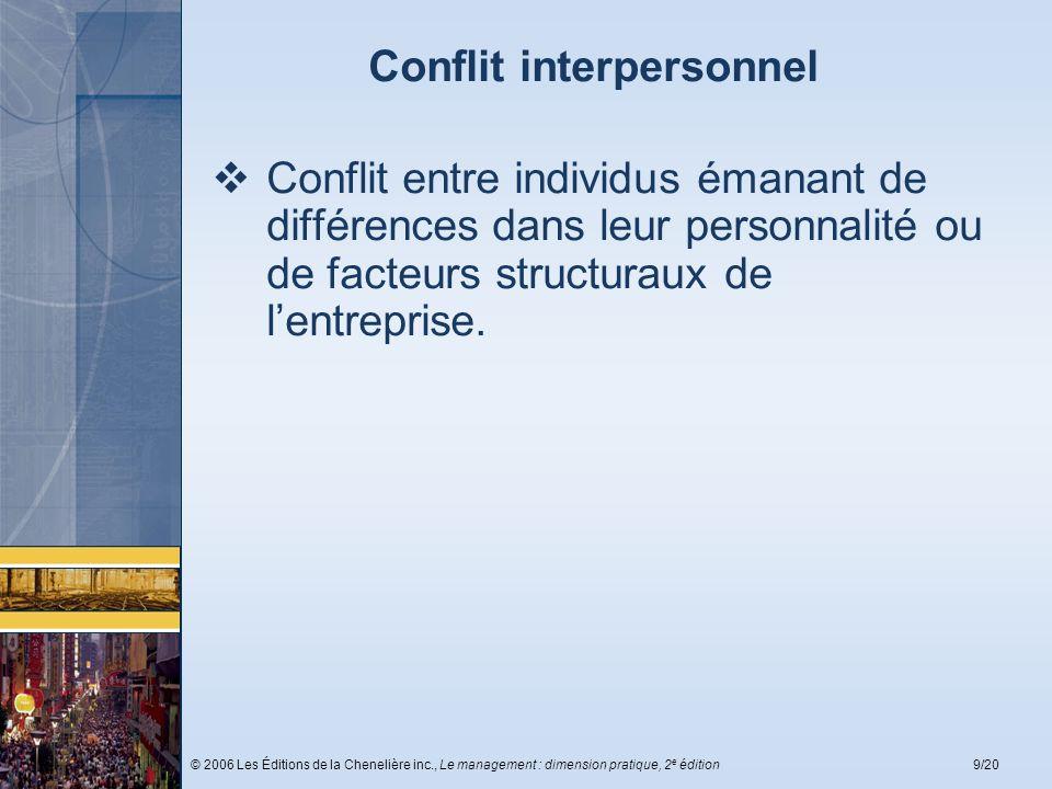 © 2006 Les Éditions de la Chenelière inc., Le management : dimension pratique, 2 e édition9/20 Conflit interpersonnel Conflit entre individus émanant