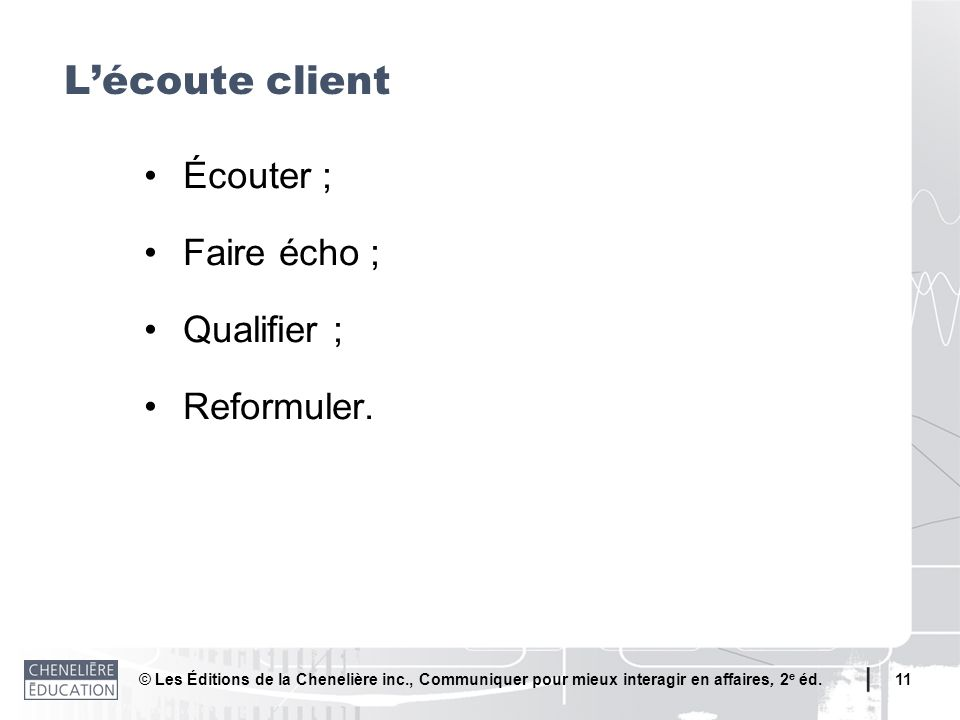© Les Éditions de la Chenelière inc., Communiquer pour mieux interagir en affaires, 2 e éd. 11 Écouter ; Faire écho ; Qualifier ; Reformuler. Lécoute