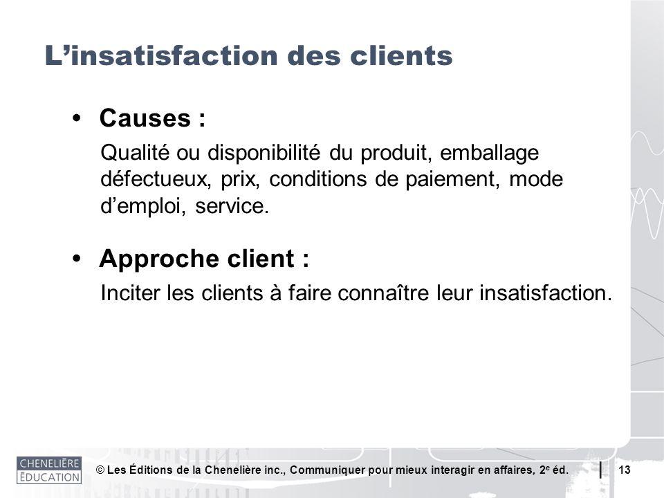 © Les Éditions de la Chenelière inc., Communiquer pour mieux interagir en affaires, 2 e éd. 13 Causes : Qualité ou disponibilité du produit, emballage