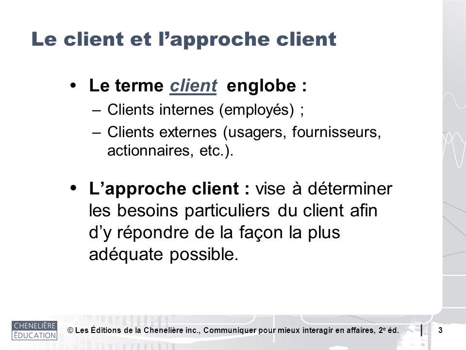 © Les Éditions de la Chenelière inc., Communiquer pour mieux interagir en affaires, 2 e éd. 3 Le terme client englobe : –Clients internes (employés) ;