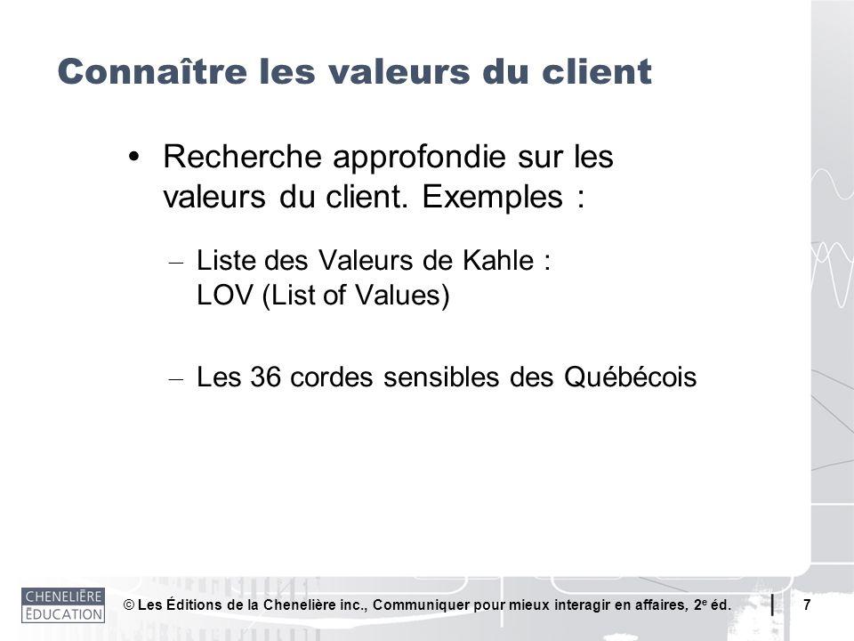 © Les Éditions de la Chenelière inc., Communiquer pour mieux interagir en affaires, 2 e éd. 7 Recherche approfondie sur les valeurs du client. Exemple