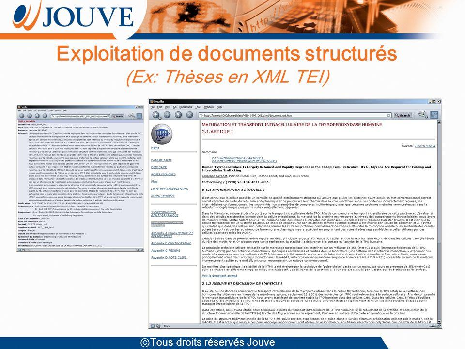 Tous droits réservés Jouve Exploitation de documents structurés (Ex: Thèses en XML TEI)