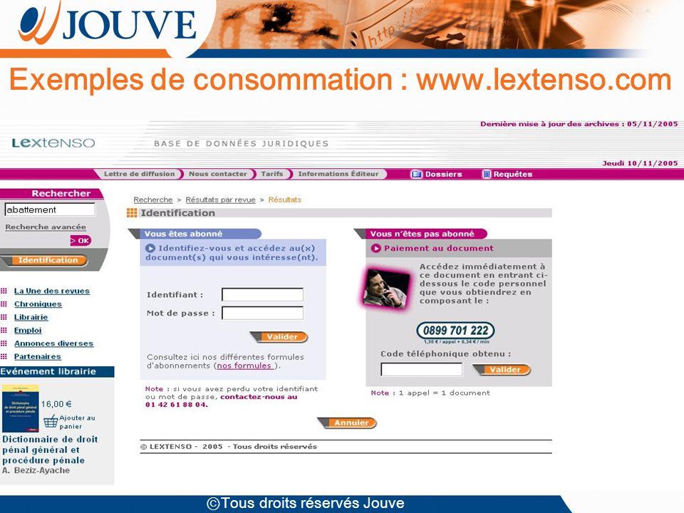 Tous droits réservés Jouve Exemples de consommation : www.lextenso.com