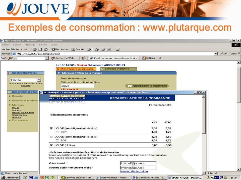 Tous droits réservés Jouve Exemples de consommation : www.plutarque.com