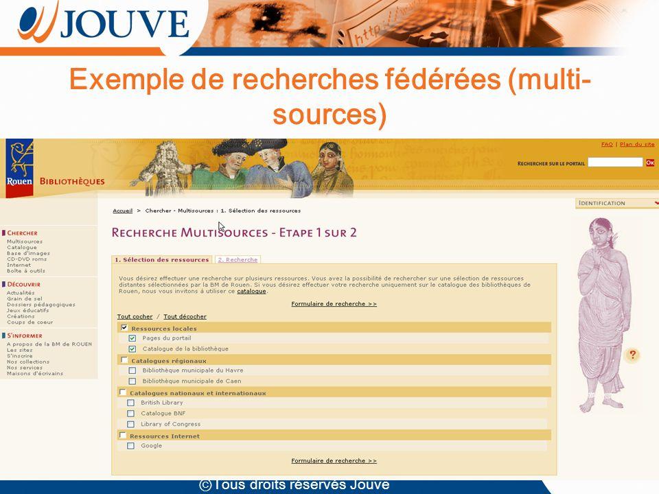 Tous droits réservés Jouve Exemple de recherches fédérées (multi- sources)