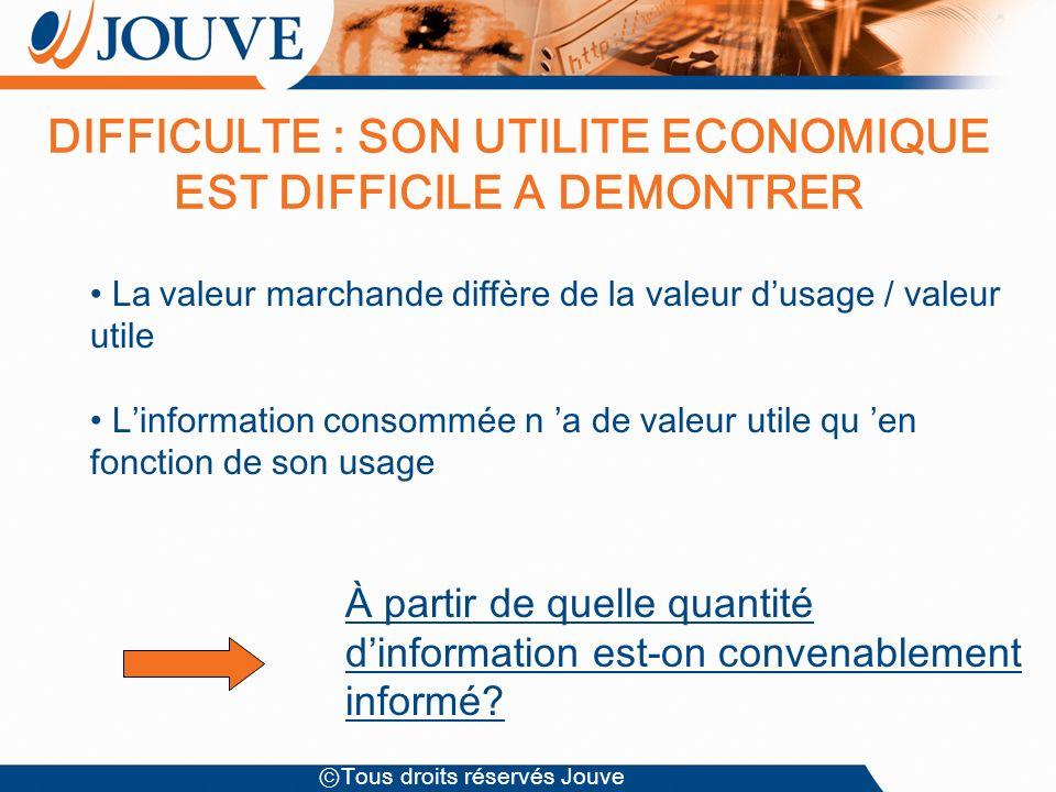 Tous droits réservés Jouve La valeur marchande diffère de la valeur dusage / valeur utile Linformation consommée n a de valeur utile qu en fonction de son usage À partir de quelle quantité dinformation est-on convenablement informé.