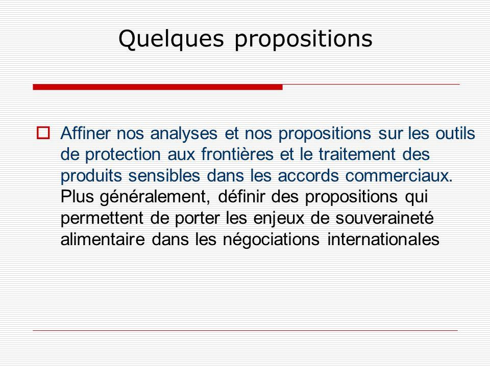 Quelques propositions Affiner nos analyses et nos propositions sur les outils de protection aux frontières et le traitement des produits sensibles dans les accords commerciaux.
