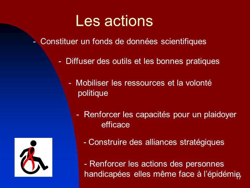 17 Les actions - Mobiliser les ressources et la volonté politique - Renforcer les capacités pour un plaidoyer efficace - Constituer un fonds de données scientifiques - Diffuser des outils et les bonnes pratiques - Construire des alliances stratégiques - Renforcer les actions des personnes handicapées elles même face à lépidémie