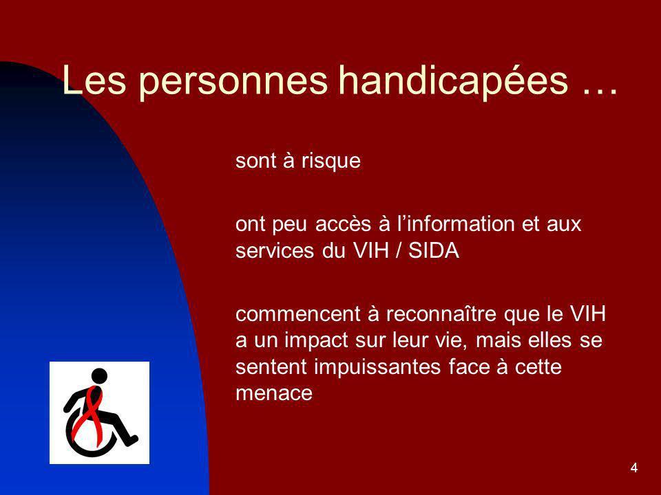 4 Les personnes handicapées … sont à risque ont peu accès à linformation et aux services du VIH / SIDA commencent à reconnaître que le VIH a un impact sur leur vie, mais elles se sentent impuissantes face à cette menace