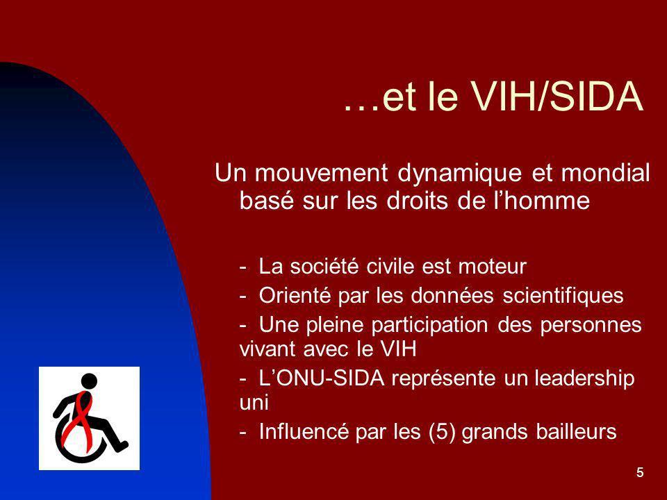 5 …et le VIH/SIDA Un mouvement dynamique et mondial basé sur les droits de lhomme - La société civile est moteur - Orienté par les données scientifiques - Une pleine participation des personnes vivant avec le VIH - LONU-SIDA représente un leadership uni - Influencé par les (5) grands bailleurs