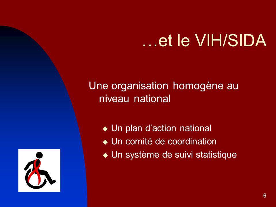 6 …et le VIH/SIDA Une organisation homogène au niveau national Un plan daction national Un comité de coordination Un système de suivi statistique
