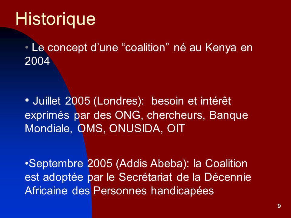 9 Historique Le concept dune coalition né au Kenya en 2004 Juillet 2005 (Londres): besoin et intérêt exprimés par des ONG, chercheurs, Banque Mondiale, OMS, ONUSIDA, OIT Septembre 2005 (Addis Abeba): la Coalition est adoptée par le Secrétariat de la Décennie Africaine des Personnes handicapées
