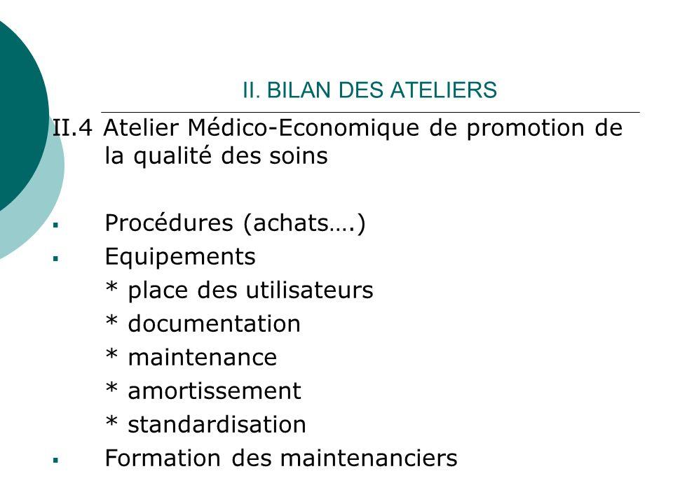 II. BILAN DES ATELIERS II.4 Atelier Médico-Economique de promotion de la qualité des soins Procédures (achats….) Equipements * place des utilisateurs