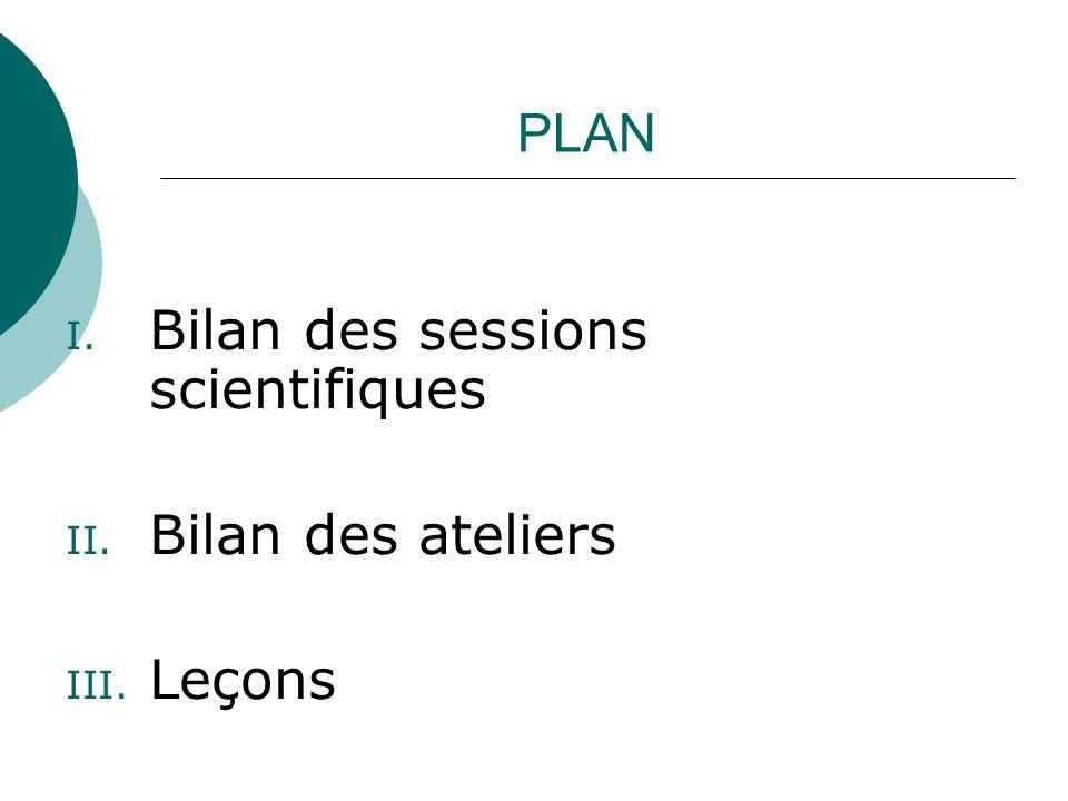 PLAN I. Bilan des sessions scientifiques II. Bilan des ateliers III. Leçons