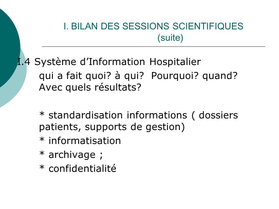 I. BILAN DES SESSIONS SCIENTIFIQUES (suite) I.4 Système dInformation Hospitalier qui a fait quoi.