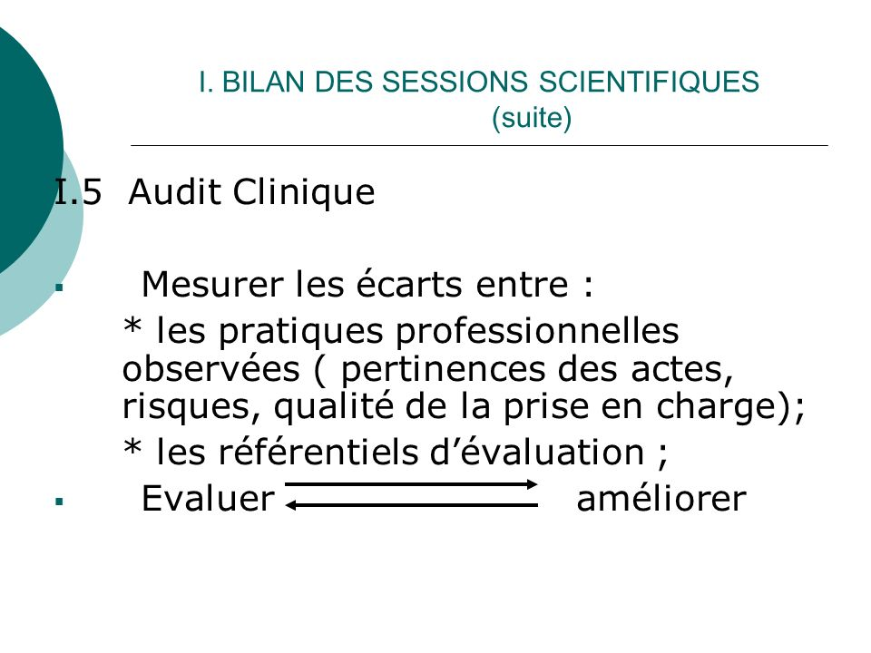 I. BILAN DES SESSIONS SCIENTIFIQUES (suite) I.5 Audit Clinique Mesurer les écarts entre : * les pratiques professionnelles observées ( pertinences des