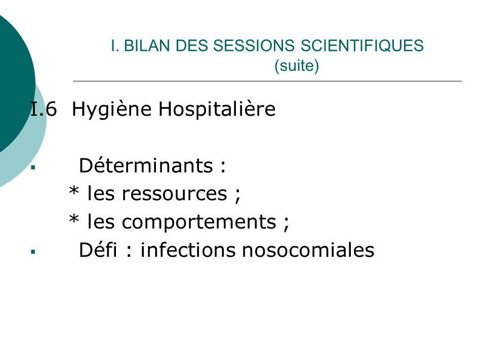 I. BILAN DES SESSIONS SCIENTIFIQUES (suite) I.6 Hygiène Hospitalière Déterminants : * les ressources ; * les comportements ; Défi : infections nosocom