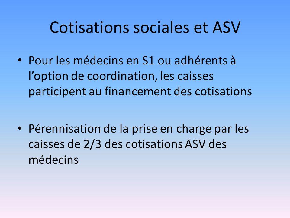 Cotisations sociales et ASV Pour les médecins en S1 ou adhérents à loption de coordination, les caisses participent au financement des cotisations Pérennisation de la prise en charge par les caisses de 2/3 des cotisations ASV des médecins