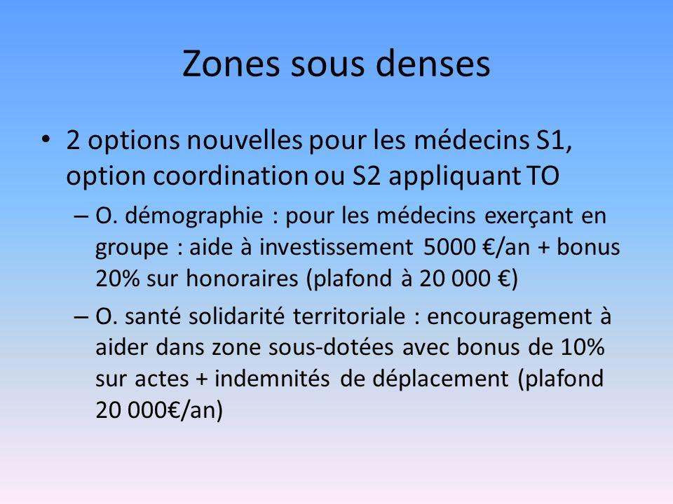 Zones sous denses 2 options nouvelles pour les médecins S1, option coordination ou S2 appliquant TO – O.