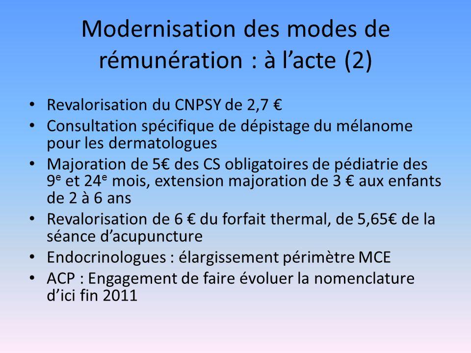 Modernisation des modes de rémunération : à lacte (2) Revalorisation du CNPSY de 2,7 Consultation spécifique de dépistage du mélanome pour les dermatologues Majoration de 5 des CS obligatoires de pédiatrie des 9 e et 24 e mois, extension majoration de 3 aux enfants de 2 à 6 ans Revalorisation de 6 du forfait thermal, de 5,65 de la séance dacupuncture Endocrinologues : élargissement périmètre MCE ACP : Engagement de faire évoluer la nomenclature dici fin 2011