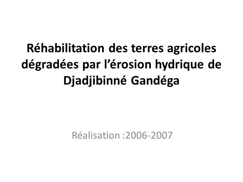 Réhabilitation des terres agricoles dégradées par lérosion hydrique de Djadjibinné Gandéga Réalisation :2006-2007