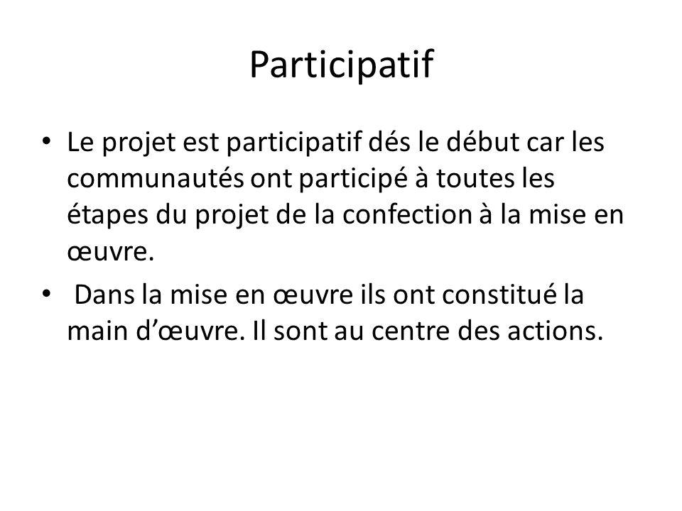 Participatif Le projet est participatif dés le début car les communautés ont participé à toutes les étapes du projet de la confection à la mise en œuv