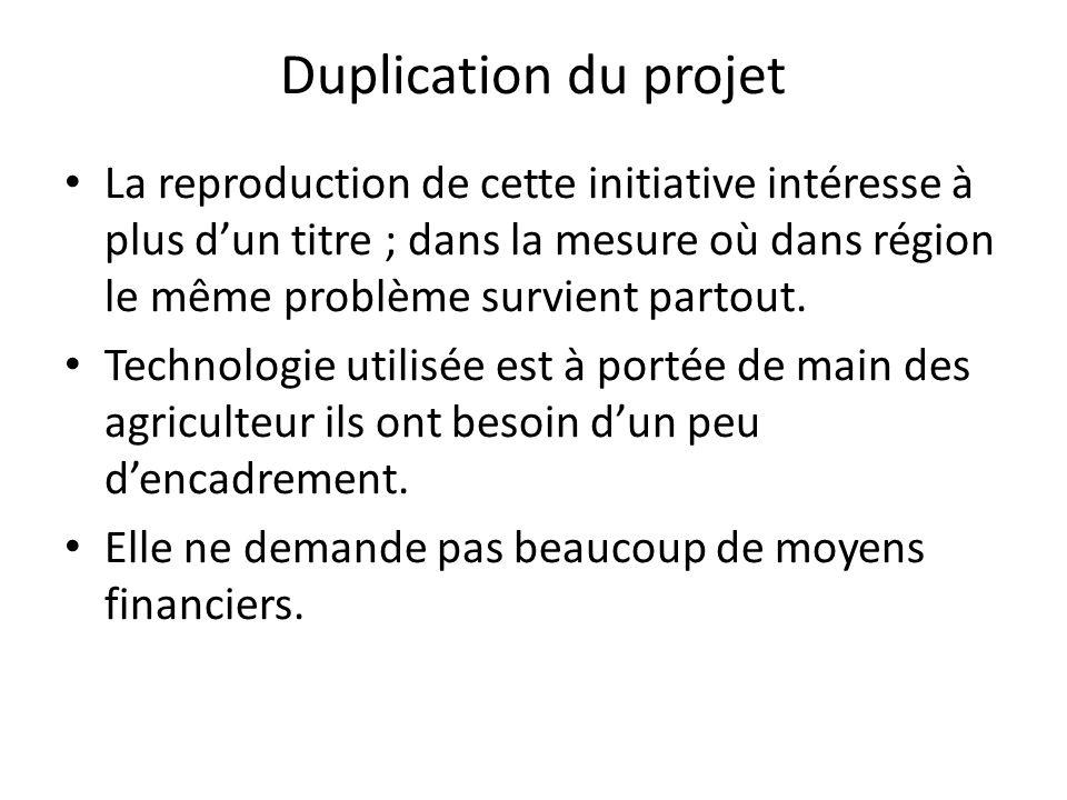 Duplication du projet La reproduction de cette initiative intéresse à plus dun titre ; dans la mesure où dans région le même problème survient partout