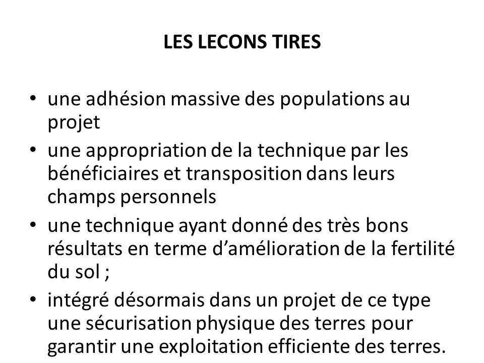LES LECONS TIRES une adhésion massive des populations au projet une appropriation de la technique par les bénéficiaires et transposition dans leurs ch