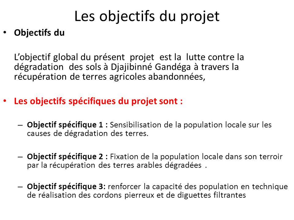 Les objectifs du projet Objectifs du Lobjectif global du présent projet est la lutte contre la dégradation des sols à Djajibinné Gandéga à travers la
