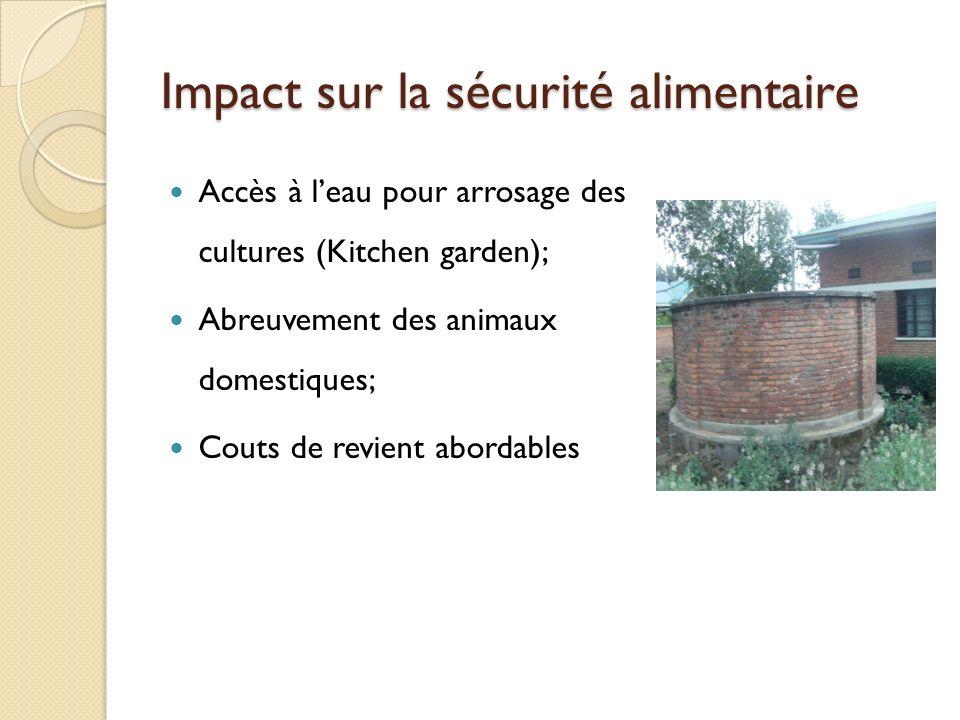 Impact sur la s é curit é alimentaire Accès à leau pour arrosage des cultures (Kitchen garden); Abreuvement des animaux domestiques; Couts de revient