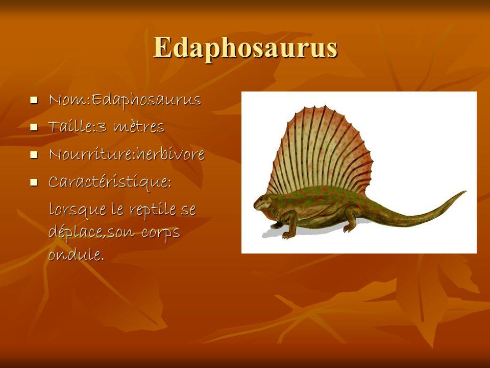 Edaphosaurus Nom:Edaphosaurus Nom:Edaphosaurus Taille:3 mètres Taille:3 mètres Nourriture:herbivore Nourriture:herbivore Caractéristique: Caractéristi
