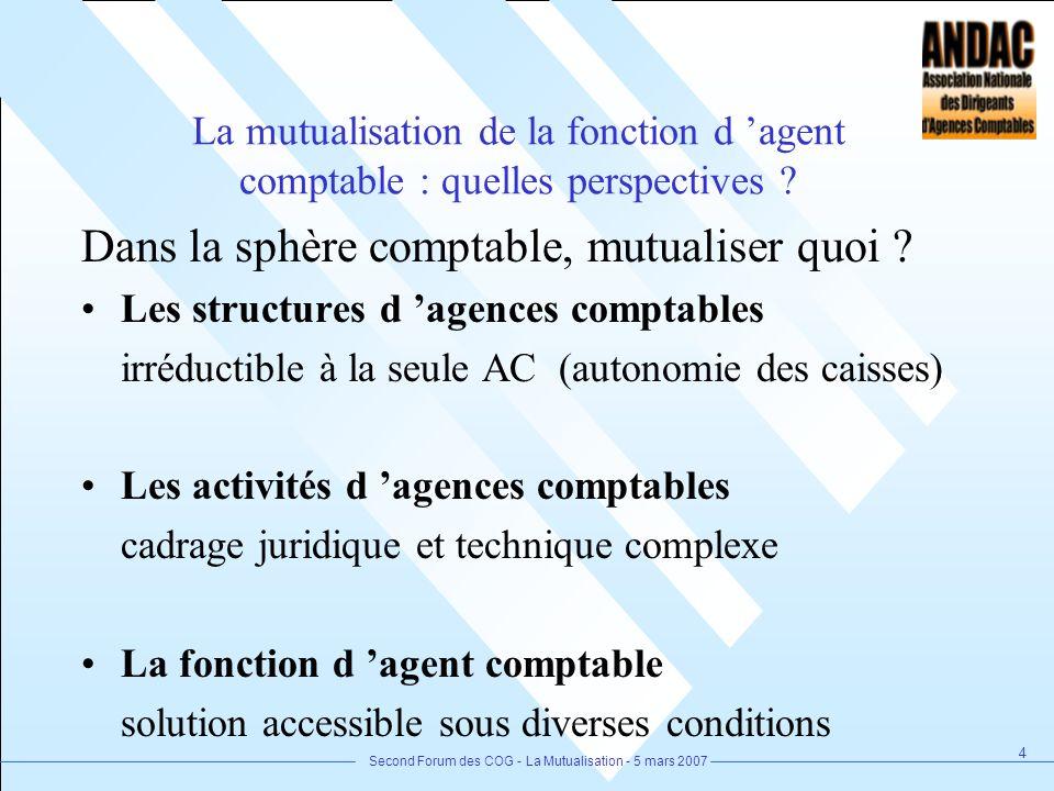 Second Forum des COG - La Mutualisation - 5 mars 2007 4 La mutualisation de la fonction d agent comptable : quelles perspectives ? Dans la sphère comp