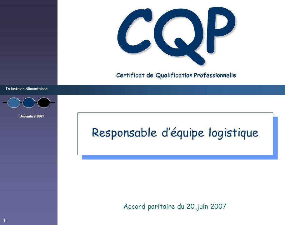 Industries Alimentaires Décembre 2007 1 CQP CQP Certificat de Qualification Professionnelle Accord paritaire du 20 juin 2007 Responsable déquipe logis