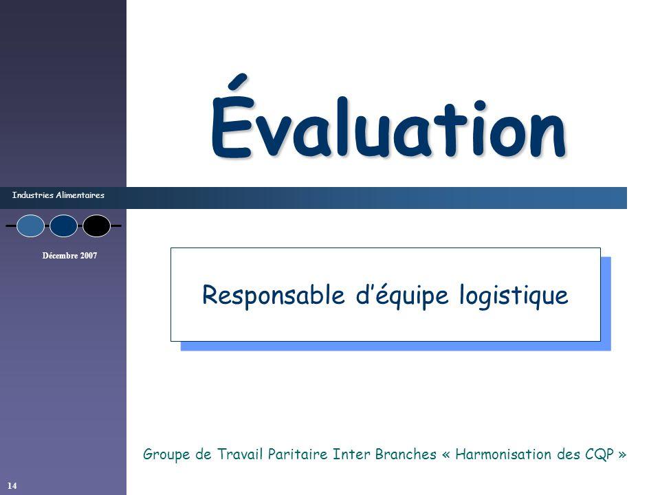 Industries Alimentaires Décembre 2007 14 Évaluation Groupe de Travail Paritaire Inter Branches « Harmonisation des CQP » Responsable déquipe logistiqu