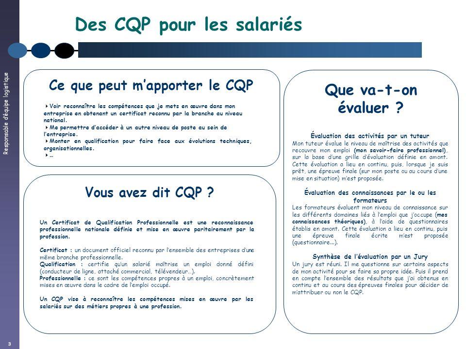 Responsable déquipe logistique 3 Des CQP pour les salariés Vous avez dit CQP ? Un Certificat de Qualification Professionnelle est une reconnaissance p