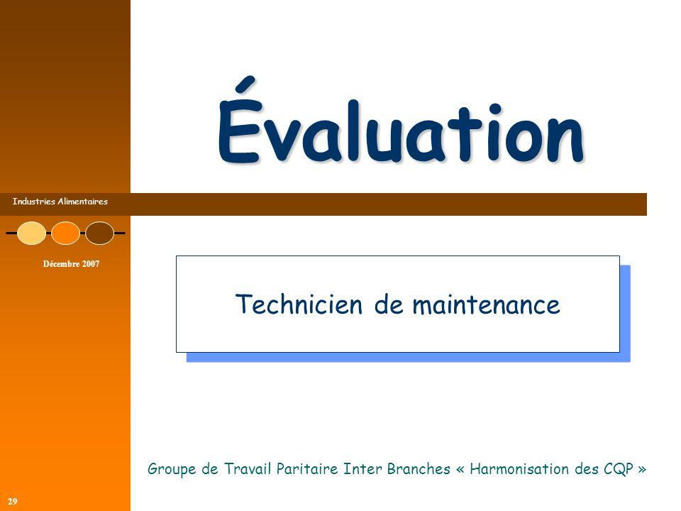 Industries Alimentaires Décembre 2007 29 Évaluation Groupe de Travail Paritaire Inter Branches « Harmonisation des CQP » Technicien de maintenance