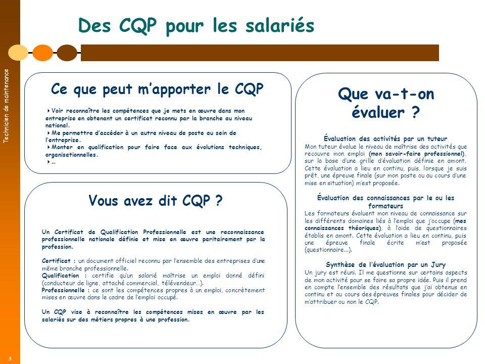 Technicien de maintenance 3 Des CQP pour les salariés Vous avez dit CQP ? Un Certificat de Qualification Professionnelle est une reconnaissance profes