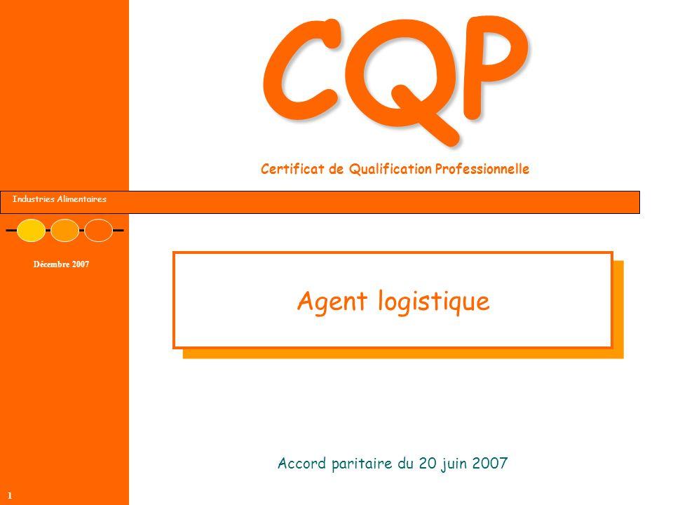 Industries Alimentaires Décembre 2007 1 CQP CQP Certificat de Qualification Professionnelle Accord paritaire du 20 juin 2007 Agent logistique
