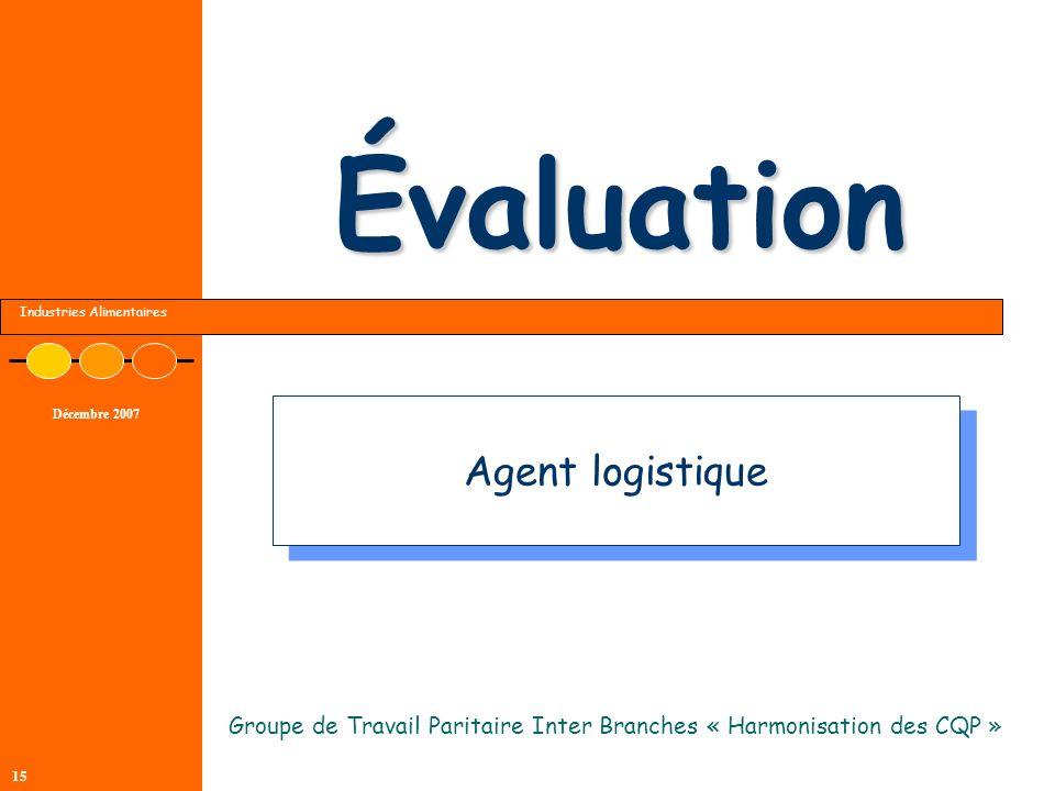 Industries Alimentaires Décembre 2007 15 Évaluation Groupe de Travail Paritaire Inter Branches « Harmonisation des CQP » Agent logistique