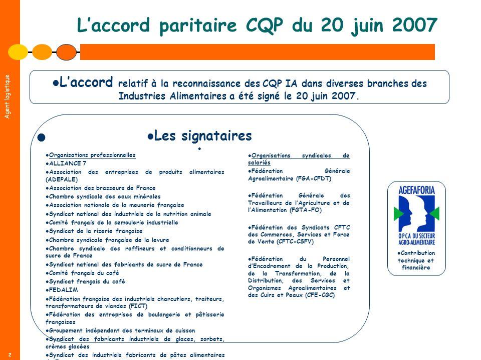2 Laccord paritaire CQP du 20 juin 2007 Contribution technique et financière Laccord relatif à la reconnaissance des CQP IA dans diverses branches des