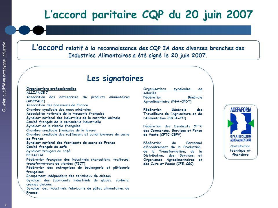 Ouvrier qualifié en nettoyage industriel 2 Laccord paritaire CQP du 20 juin 2007 Contribution technique et financière Laccord relatif à la reconnaissa