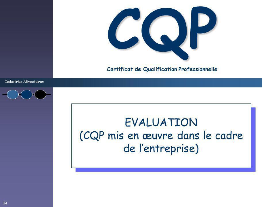 Industries Alimentaires 14 CQP CQP Certificat de Qualification Professionnelle EVALUATION (CQP mis en œuvre dans le cadre de lentreprise) EVALUATION (