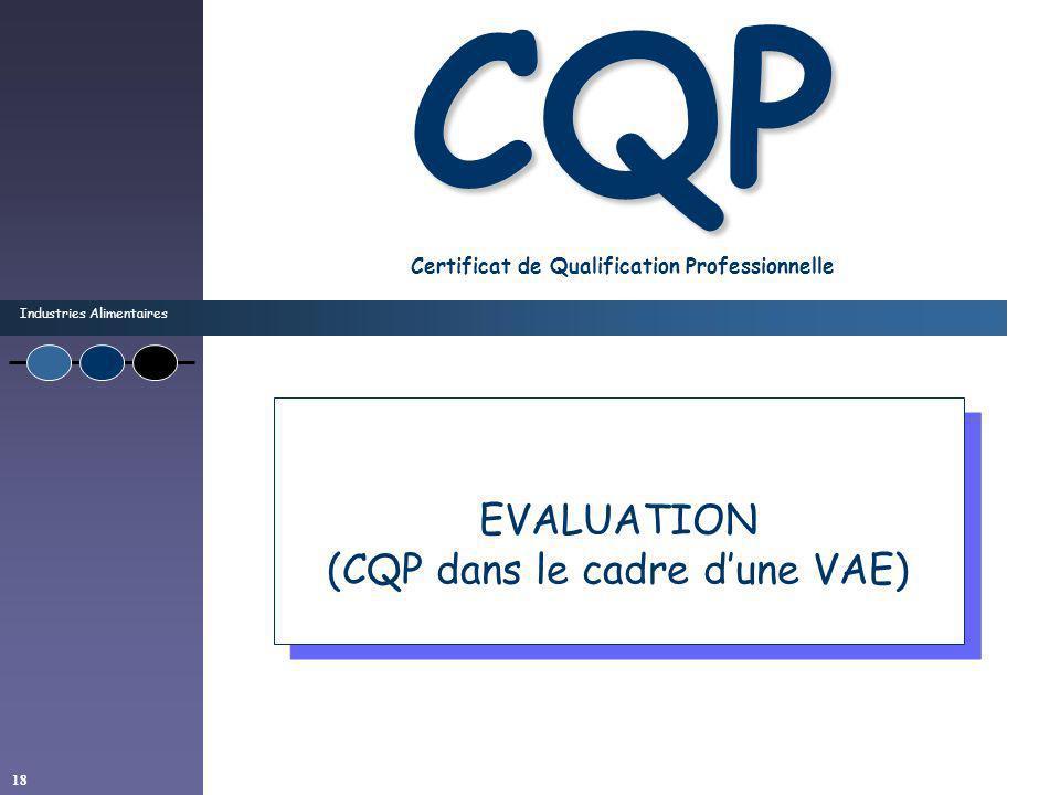 Industries Alimentaires 18 CQP CQP Certificat de Qualification Professionnelle EVALUATION (CQP dans le cadre dune VAE) EVALUATION (CQP dans le cadre d