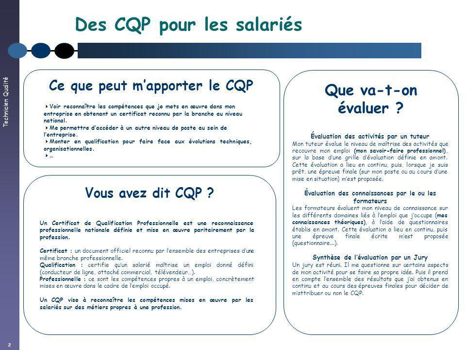 Technicien Qualité 2 Des CQP pour les salariés Vous avez dit CQP ? Un Certificat de Qualification Professionnelle est une reconnaissance professionnel
