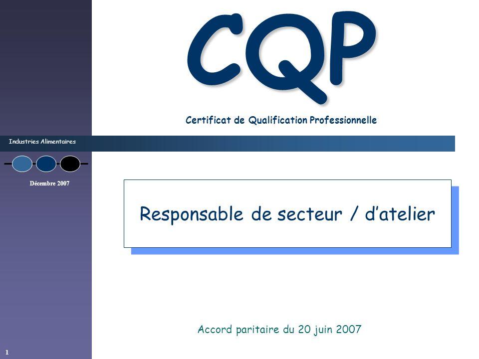 Industries Alimentaires Décembre 2007 1 CQP CQP Certificat de Qualification Professionnelle Accord paritaire du 20 juin 2007 Responsable de secteur /