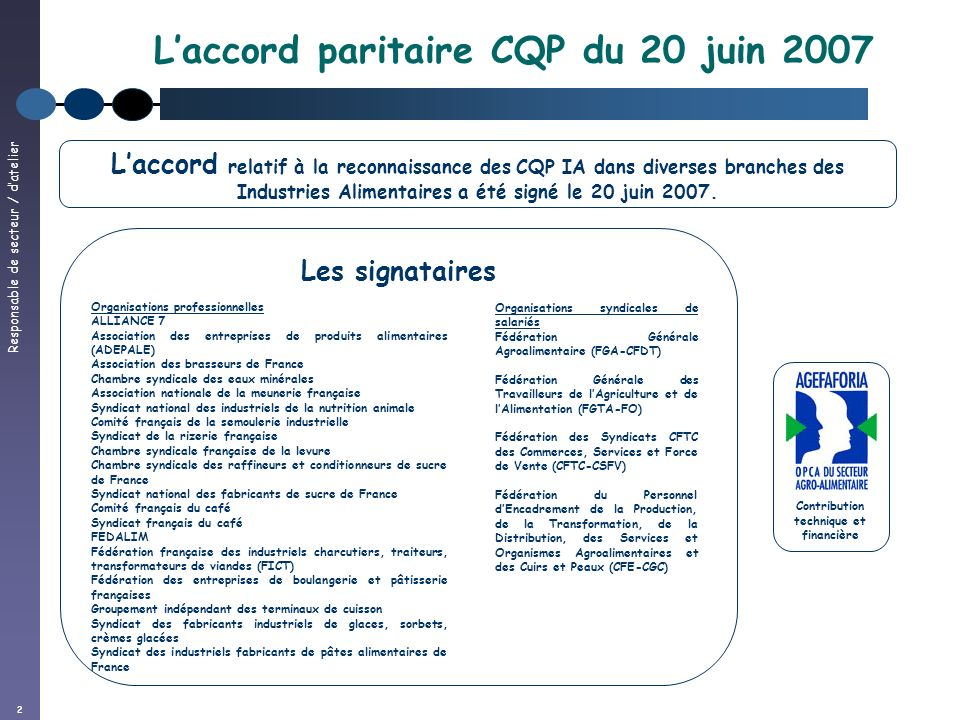 2 Laccord paritaire CQP du 20 juin 2007 Contribution technique et financière Laccord relatif à la reconnaissance des CQP IA dans diverses branches des Industries Alimentaires a été signé le 20 juin 2007.