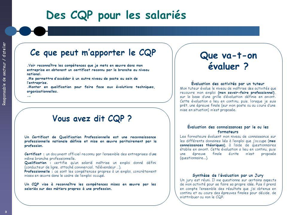 Responsable de secteur / datelier 3 Des CQP pour les salariés Vous avez dit CQP ? Un Certificat de Qualification Professionnelle est une reconnaissanc